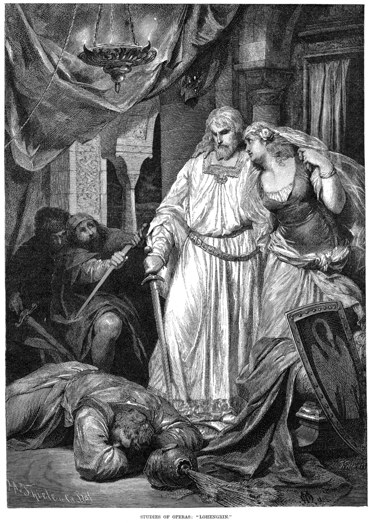 Scene from Wagner's Lohengrin, as performed at the London première.