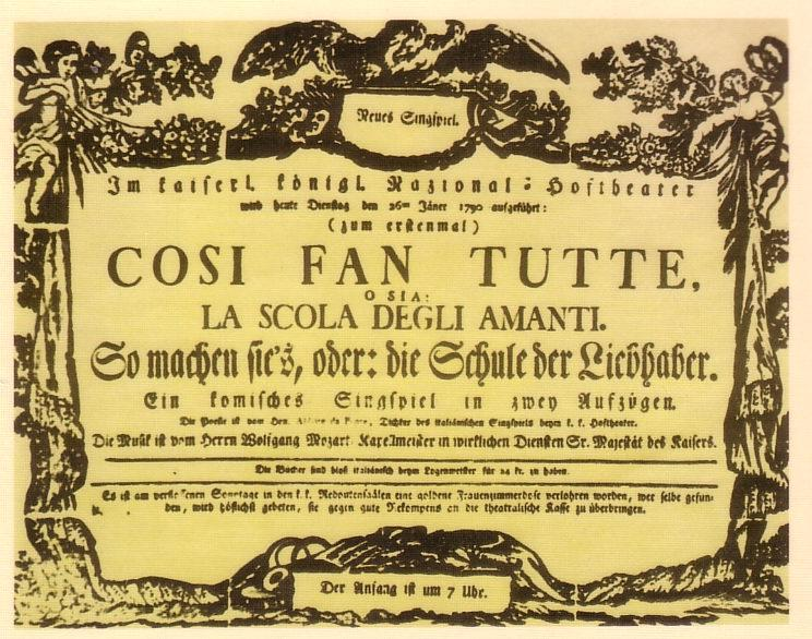 Theaterzettel der Uraufführung von Così fan tutte am Burgtheater Wien, 26. Januar 1790