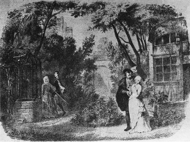 Margeurite's garden in Act 3 of the opera Faust by Gounod as presented in the original production at the Théâtre Lyrique on 19 March 1859.
