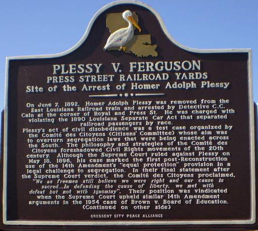 Photo of the front of Plessy v. Ferguson marker in New Orleans, Louisiana, USA. written by historian Keith Weldon Medley for placement by the Crescent City Peace Alliance and placed on the corner of Press Street and Railroad Yards Feb. 12, 2009