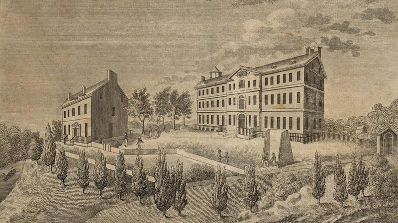 Georgetown College campus with the South Building to the left and the North Building to the right, 1831