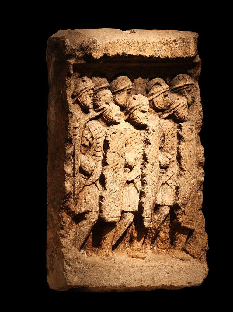 Roman legionaries. Bas-relief from Glanum (Saint-Rémy-de-Provence). Espérandieu 130. On display at Fourvière Gallo-Roman museum, Lyon.