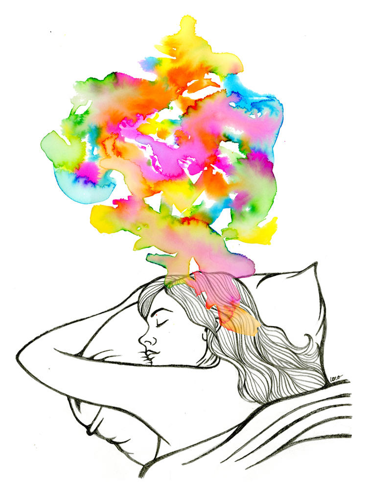 An illustration to showcase the brainactivity during REM-sleep.