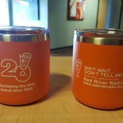 Wait, Wait, Don't Tell Me 20th Anniversary Mug - $120 donation. Celebrate the 20th Anniversary of Wait Wait Don't Tell Me with this 12 ounce insulated double wall 18/8 stainless steel thermal mug with your station call letters added to one side.