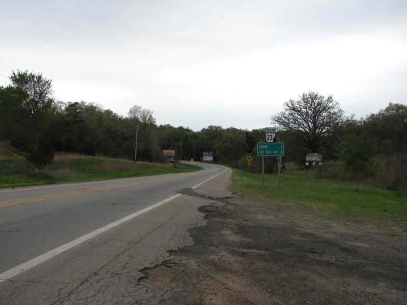 Arkansas Highway 23 southbound, Ozark Arkansas