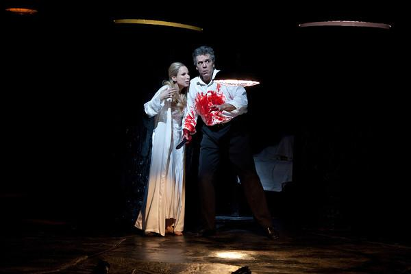 "Nadja Michael as Lady Macbeth and Thomas Hampson as the title character in Verdi's ""Macbeth."""