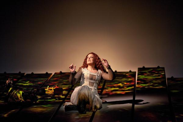 "Deborah Voigt as Brünnehilde in the Met's new production of Wagner's ""Siegfried."""