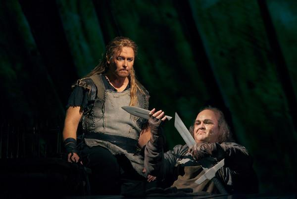 "Jay Hunter Morris as the title character and Gerhard Siegel as Mime in the Met's new production of Wagner's ""Siegfried."""