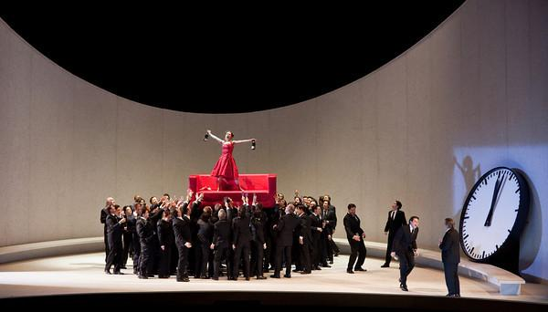 "A scene from Act 1 of Verdi's ""La Traviata"" with Natalie Dessay (center, in red) as Violetta."
