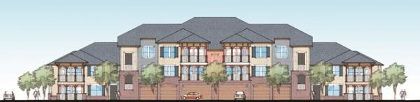 A rendering of LeRivage, an upscale apartment complex under construction in Bossier City, slated to be completed in May.