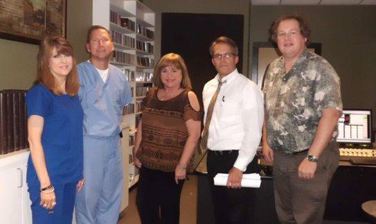 Linda Delacerde, Dr. Anthony Stuart, Jan Burns, Dr. Randall Brewer, and Kermit Poling in the Noel Foundation Studio at Red River Radio.