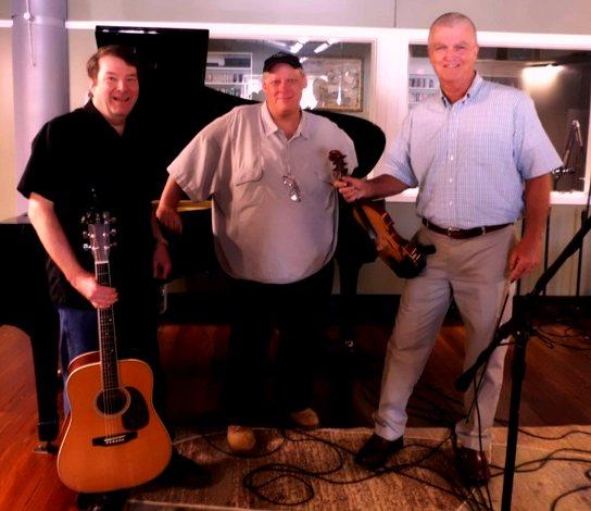 Rick Adams (L), Bill Beckett (C), and Frank Willis (R) in the Marion and Donald Weiss Performance Studio at Red River Radio.