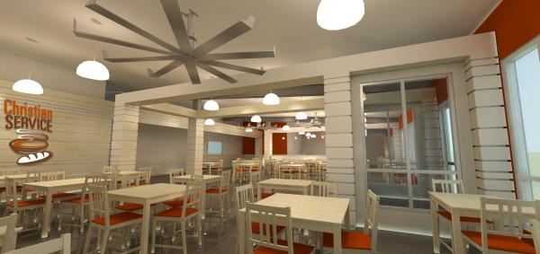 This architectural rendering shows Christian Service's future dining facility in a former Shreveport warehouse.