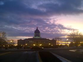 The sun sets on the State Capitol while lawmakers consider the final group of sunshine bills put forward by the South Dakota Open Governemnt Task Force.