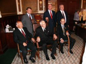 South Dakota's living Governors attend ceremony in Pierre. Mike Rounds, Dennis Daugaard, Russell Janklow (son of Bill Janklow), Harvey Wollman, Frank Farrar and Walter Dale Miller.