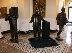 The three statues to be placed in the Trail of Governors this year.