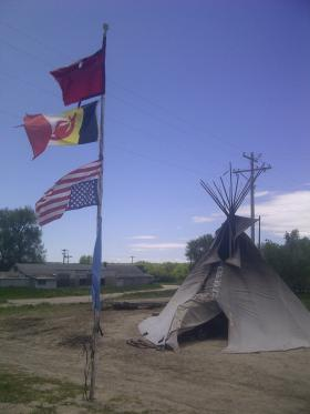 "Camp ""Zero Tolerance"" on the Pine Ridge Reservation boarder just outside Whiteclay."