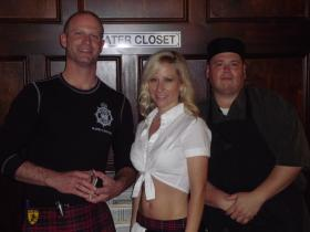 Bartenders Shane Trudo and Tara Roscamp wear kilts. Cook Daniel Kettell...doesn't.