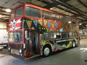 One of two British double-decker buses The Wobbly Bobby will operate in Rapid City this summer.