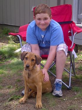 Jacob Galbraith and his dog Yankee.