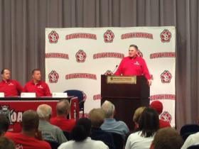 Coach Joe Glenn Addressing the Media and Fans at the USD Media Day.