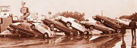 Cars stacked on top of one another after the 1972 flood. Photo courtesy of the Rapid City Public Library.