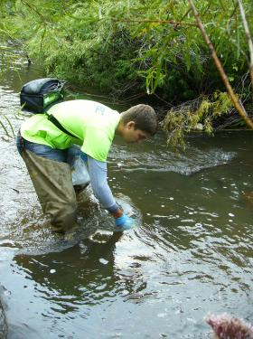 Peter Rausch an engineer with RESPEC collects water samples in Spring Creek during the summer of 2013.