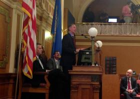 Governor Dennis Daugaard presents his FY2015 budget to lawmakers.