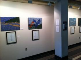 """Rivers, Wings and Sky,"" on display at the I.D. Weeks Library."