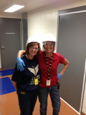 SDPB's Cara Hetland with Robin Varland at the 4850 foot level of the Sanford Underground Lab at Homestake