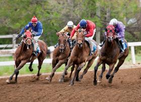 Horse racing at the Stanley County Fairgrounds.