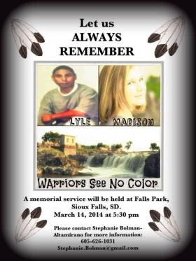 Poster for Memorial Dinner shows Lyle Eagle Tail and Madison Wallace