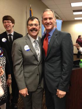 Lt. Gov. Matt Michaels and Gov. Dennis Daugaard kick of re-election campaign in Sioux Falls.