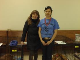 Lakota Animal Health Care Project founder Virginia Ravndal and  volunteer Techla Two Bears.