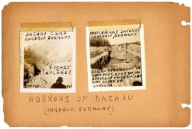 Album documenting the liberation of the Ohrdruf camp, a subcamp of Buchenwald (mislabeled as Dachau). Ohrdruf, Germany, April 1, 1945.