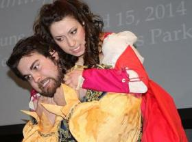 "Tony Garcia (Left, as Petruchio) and Emily Dorsett (Right, as Kate) star in ""The Taming of the Shrew"" this weekend in Vermillion's Prentis Park"