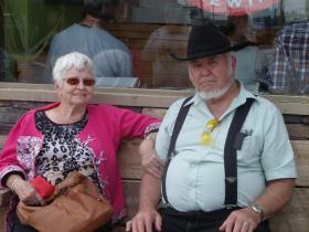 Honeymooners Ed and Ruth Black wait their turn at Black Hills Burger and Bun.