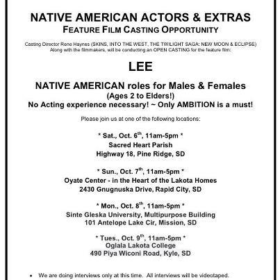 """Casting call flyer for """"Lee"""""""