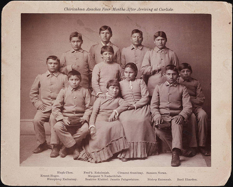 Native Ameican students 4 months after arriving at Carlisle Indian School