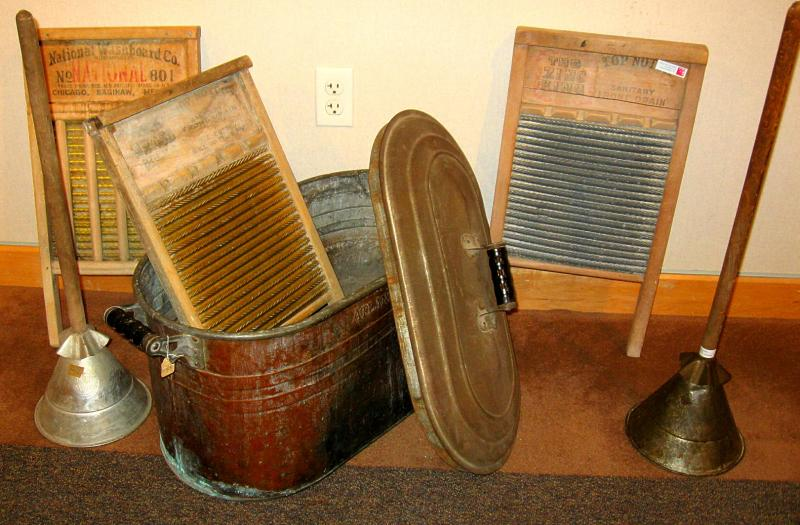 Washboards and tubs were the washing machines before motors replaced muscle.
