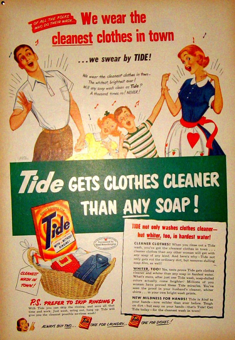 Detergent ads from days gone by featured happy parents with clone-children.
