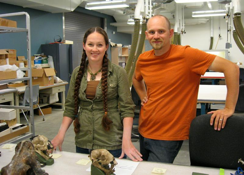 Mindy Householder and Clint Boyd put together the Nimravid exhibit for the Museum of Geology at SDSMT