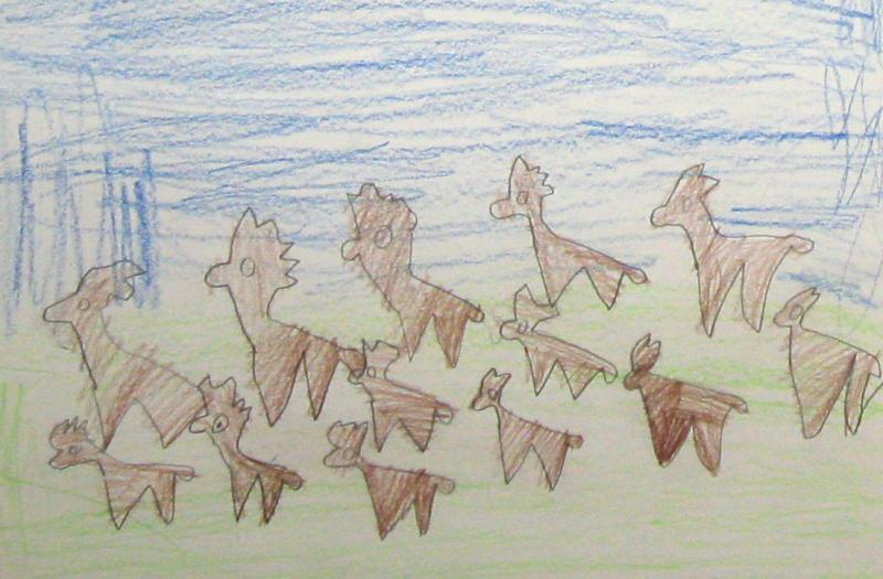 Here's another drawing of the herd of deer.