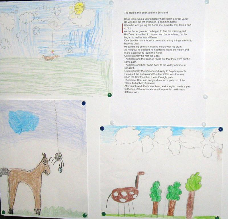 In the fable, a horse meets a spider that takes a part of him. Notice the drawing in the lower right--the horse has parts missing.