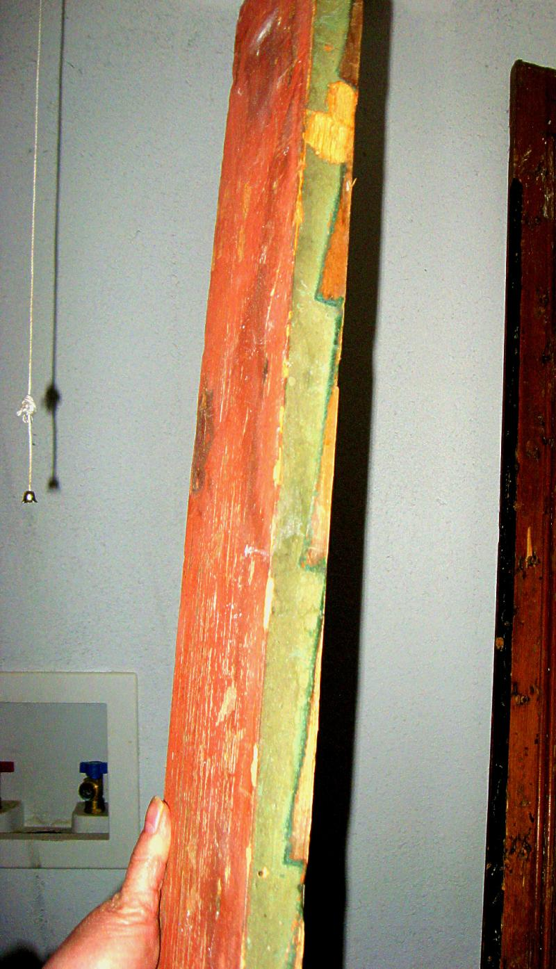 When workers found this piece of trim, they then knew what color of green the original house had been painted.