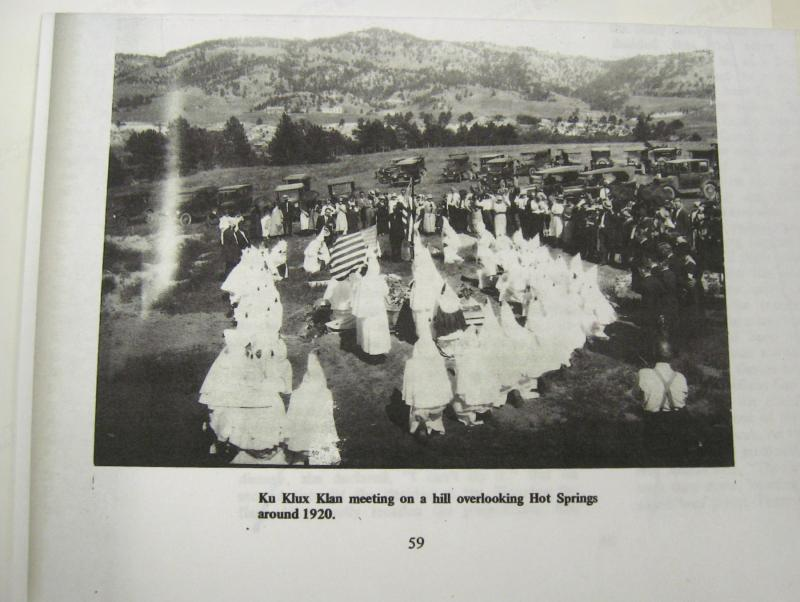 Photo of a 1926 funeral at Sturgis, with Klansmen in attendance.