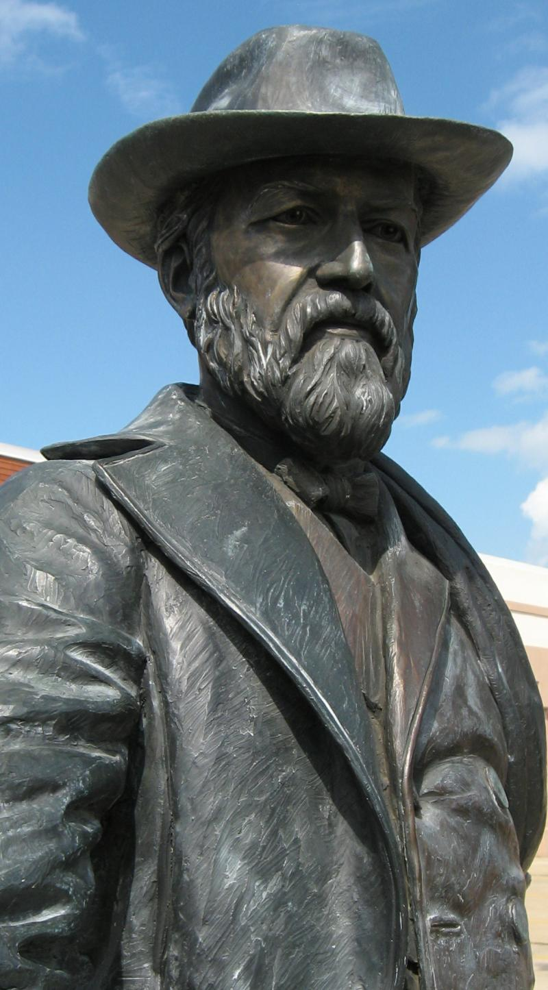 This statue of President James Garfield stands on Rapid City's Main Street. Garfield was killed by bad healthcare.