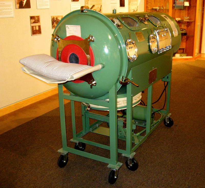 This functioning iron lung was restored by Larry David of Black Hawk.