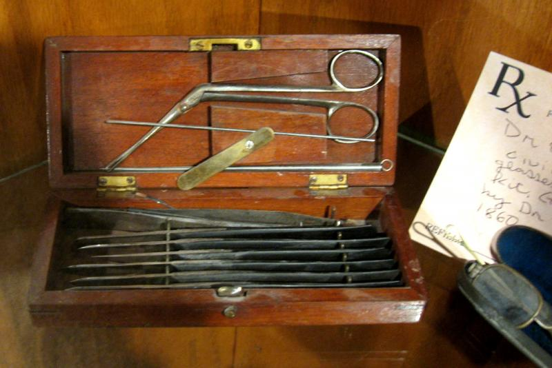 The small tools in this battlefield surgical kit were used for, among other purposes, amputations.