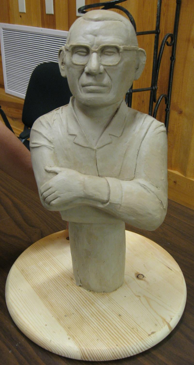 Oscar Howe is portrayed in this maquette, a small proposed model of one of the busts.